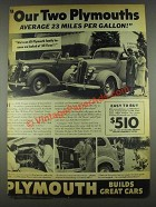 1936 Plymouth Cars Ad - Average 23 Miles Per Gallon
