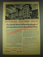1936 Physical Culture Hotel Ad - Amazing Recoveries