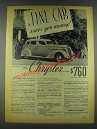 1936 Chrysler Six Sedan Ad - Fine Car Saves You Money