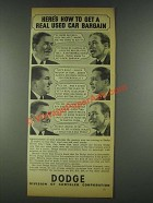 1936 Dodge Cars Ad - Get a Real Used Car Bargain