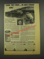 1936 Eveready Batteries Ad - Down They Went