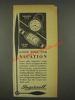 1936 Ingersoll Yankee and Aero Watch Ad - Vacation