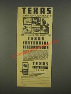 1936 Texas Centennial Ad - Land of Contrasts
