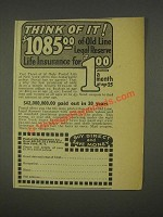 1936 Postal Life Insurance Company Ad - Think of It