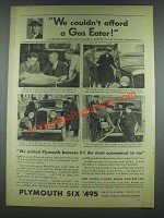 1933 Plymouth Car Ad - We Couldn't Afford a Gas Eater