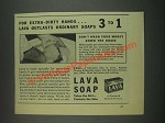 1933 Lava Soap Ad - For Extra-Dirty Hands