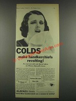 1932 Kleenex Tissues Ad - Colds Handkerchiefs Revolting