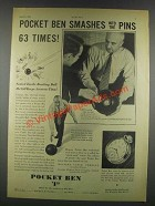 1932 Westclox Pocket Ben Watch Ad - Smashes Into Pins