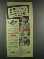 1932 Kleenex Tissues Ad - Wash Dirty Handkerchiefs?
