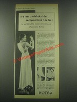 1932 Kotex Napkins Ad - An Unthinkable Compromise
