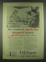 1931 Lifebuoy Health Soap Ad - He Lost Interest