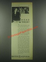 1931 Bayer Aspirin Ad - Head Throb
