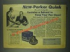 1931 Parker Quink Ad - Contains a Solvent