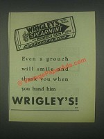 1931 Wrigley's Spearmint Gum Ad - Even a Grouch