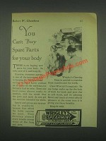 1931 Wrigley's Spearmint Gum Ad - Can't Buy Spare Parts