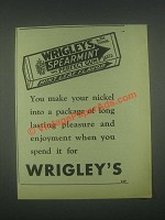 1931 Wrigley's Spearmint Gum Ad - You Make Your Nickel