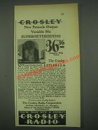 1931 Crosley Litlfella Superheterodyne Radio Ad - Pentode Output Variable