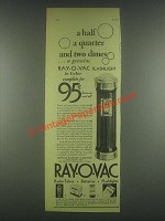 1930 Ray-O-Vac Flashlight Ad - Half A Quarter