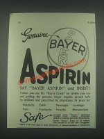 1925 Bayer Aspirin Ad - Genuine