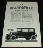1923 Maxwell Club Sedan Car Ad - The Good Maxwell!!