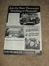 1940 Plymouth Car Ad, Thousands Switching!!!