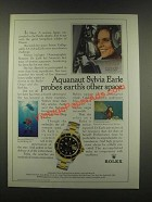 1985 Rolex Submariner Date Watch Ad - Sylvia Earle