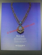 1985 Sotheby's Jewelry Auction Ad - Black Opals