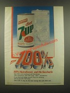1985 Diet 7up Soda Ad - 100% NutraSweet no Saccharin