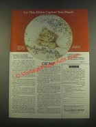 1985 Hamilton Collection Ad - Crown Ware Cat Nap Plate