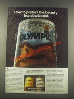 1985 Olympic Oil Stain Ad - Protect the Beauty