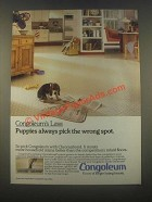 1985 Congoleum Floors Ad - Puppies Pick the Wrong Spot