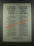 1985 R.J. Reynolds Tobacco Ad - A Message From Those