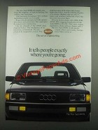 1985 Audi 4000S Ad - Tells People Where You're Going