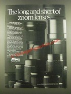 1985 Nikon Lenses Ad - The Long and Short of Zoom