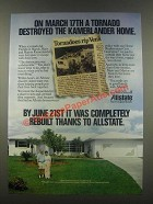 1985 Allstate Insurance Ad - A Tornado Destroyed Kamerlander Home