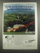 1985 Aer Lingus Ad - Fly the Scenic Route to Europe