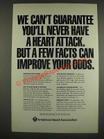 1985 American Heart Association Ad - can't guarantee never have heart attack