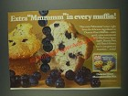 1985 Duncan Hines Blueberry Muffin Mix Ad - Extra Mmmmm in every muffin