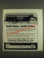 1985 Gooseneck Solid Side Trailer Ad - Solid Sides. Solid Value.
