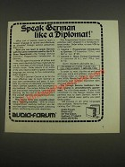 1985 Audio-Forum Foreign Service Institute's German Course Ad