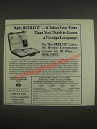 1985 Berlitz Learn-at-Home Language Course Ad