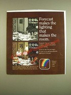 1985 Forecast lighting Ad - Forecast makes the lighting that makes the room