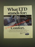 1985 Ford LTD Car Ad - What LTD stands for: Comfort