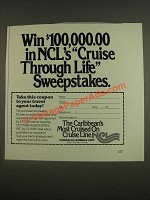 1985 Norwegian Caribbean Lines Cruise Ad - Cruise through Life sweepstakes