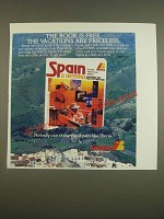 1985 Iberia Airline Ad - The book is free. The vacations are priceless