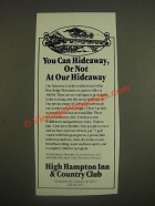1985 High Hampton Inn & Country Club Ad - You Can Hideaway, or Not