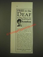 1924 Dictograph Acousticon Ad - Free to the Deaf