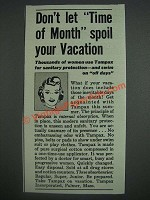 1943 Tampax Tampons Ad - Don't let time of month spoil your vacation