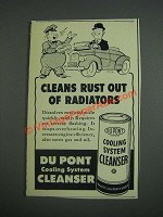 1943 Du Pont Cooling System Cleanser Ad - Cleans rust out of radiators