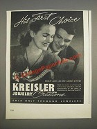 1944 Kreisler Jewelry Ad - His first choice